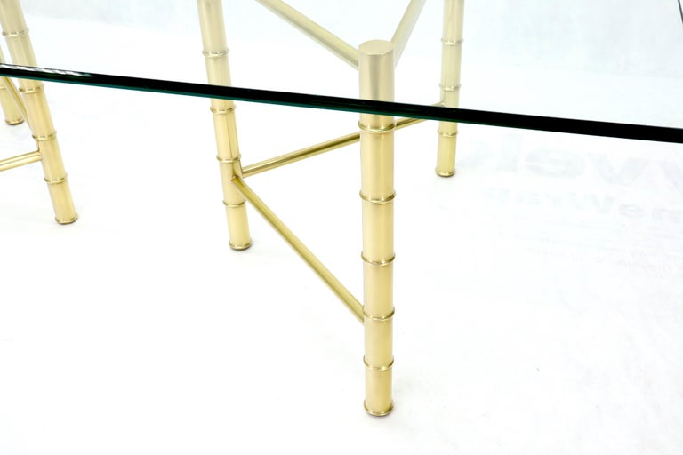 20th Century Double Pedestal Faux Brass Bamboo Glass Top Dining Conference Table For Sale