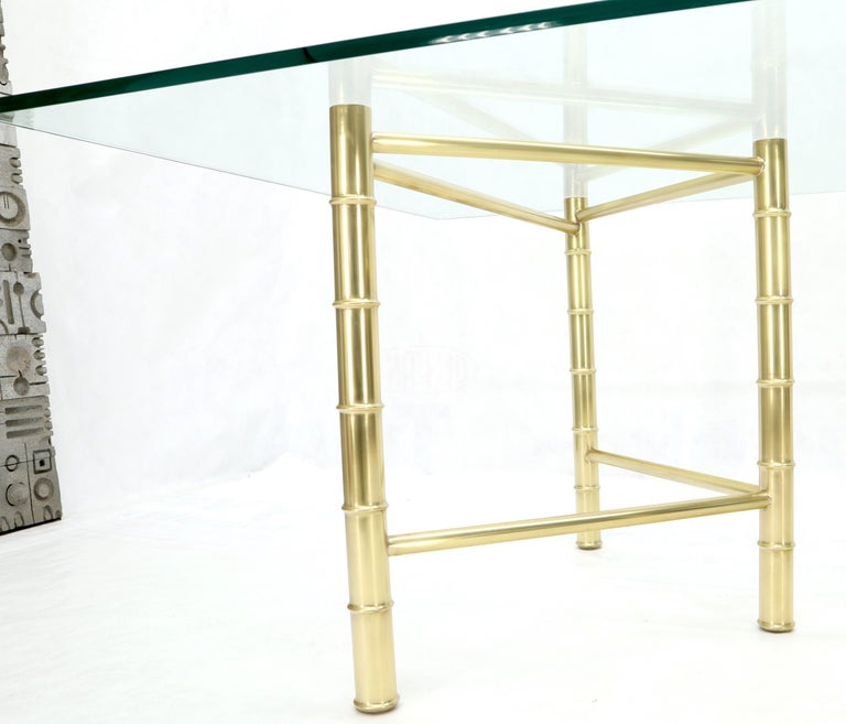 Double Pedestal Faux Brass Bamboo Glass Top Dining Conference Table For Sale 1