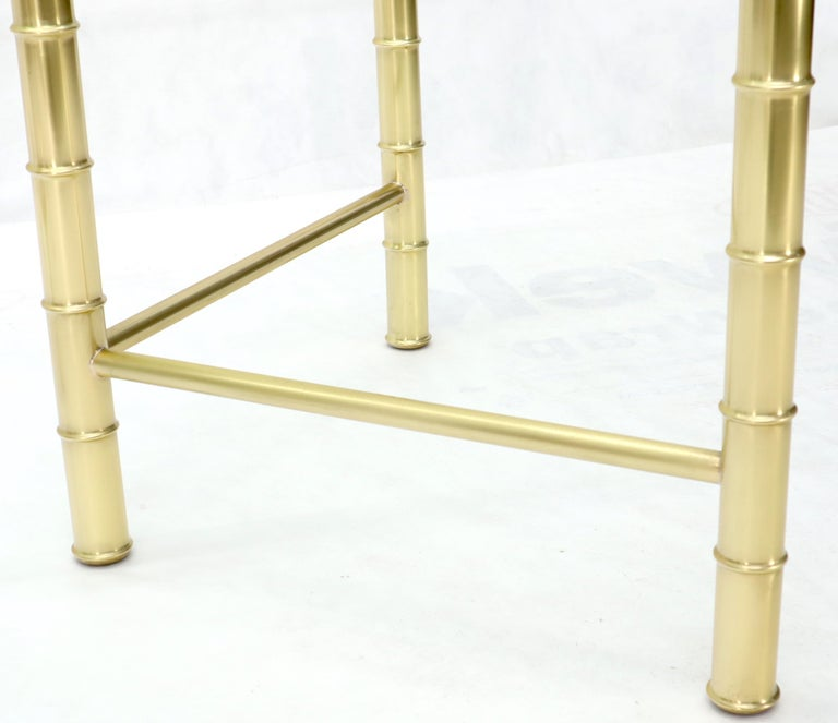 Double Pedestal Faux Brass Bamboo Glass Top Dining Conference Table For Sale 2