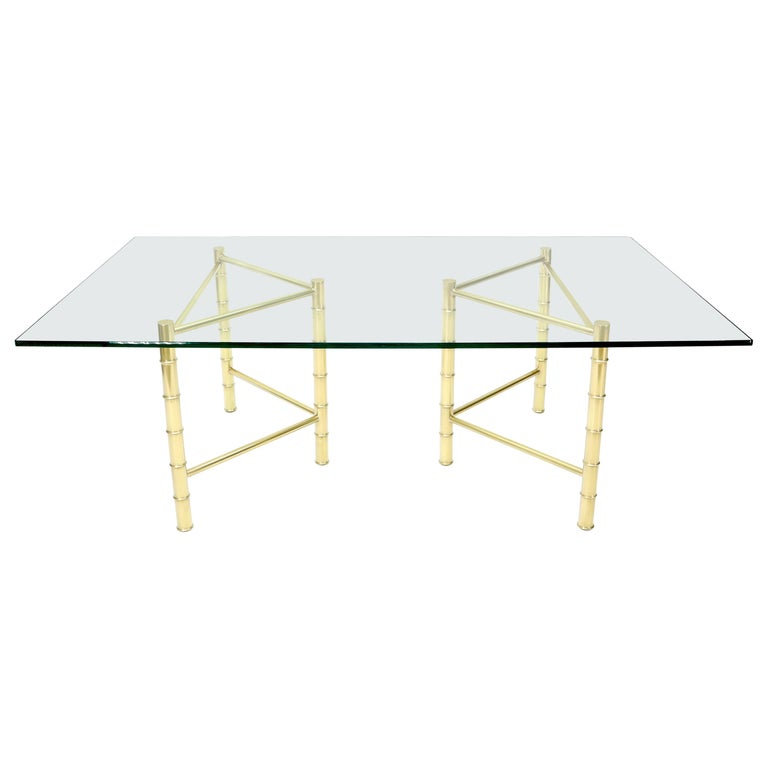 Double Pedestal Faux Brass Bamboo Glass Top Dining Conference Table For Sale