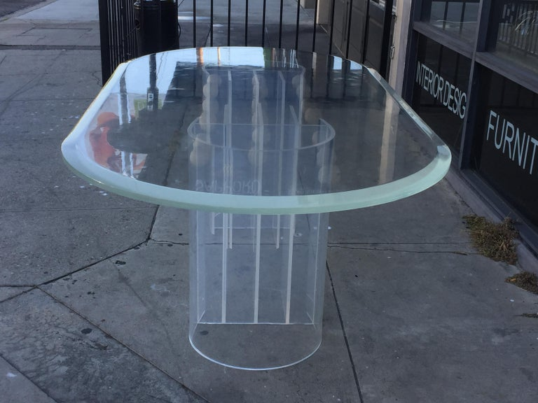 Mid-Century Modern Double Pedestal Lucite Dining Table by Charles Hollis Jones,