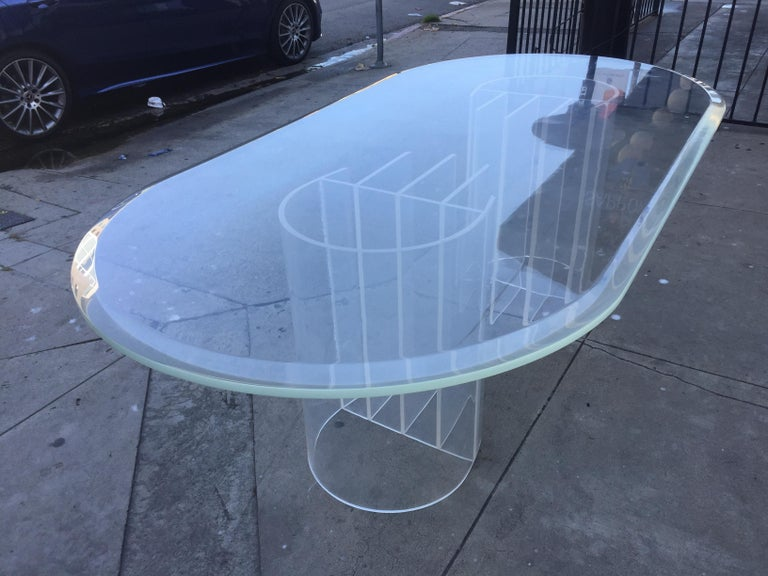American Double Pedestal Lucite Dining Table by Charles Hollis Jones,