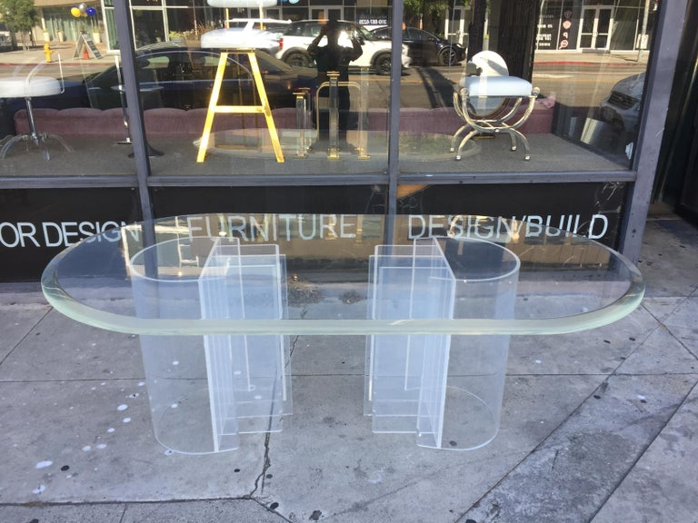 Double Pedestal Lucite Dining Table by Charles Hollis Jones,