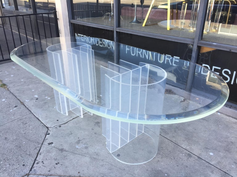 Late 20th Century Double Pedestal Lucite Dining Table by Charles Hollis Jones,