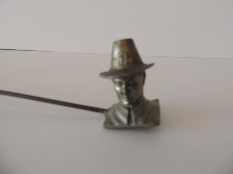 Hand-Crafted Double Pewter Snuffer with a Pilgrim Man and a Pilgrim Woman Face For Sale