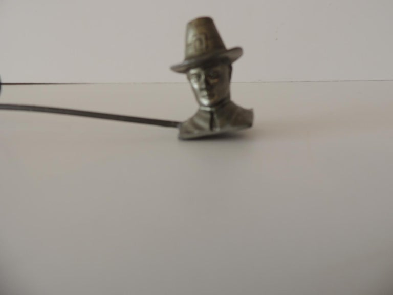 Late 20th Century Double Pewter Snuffer with a Pilgrim Man and a Pilgrim Woman Face For Sale