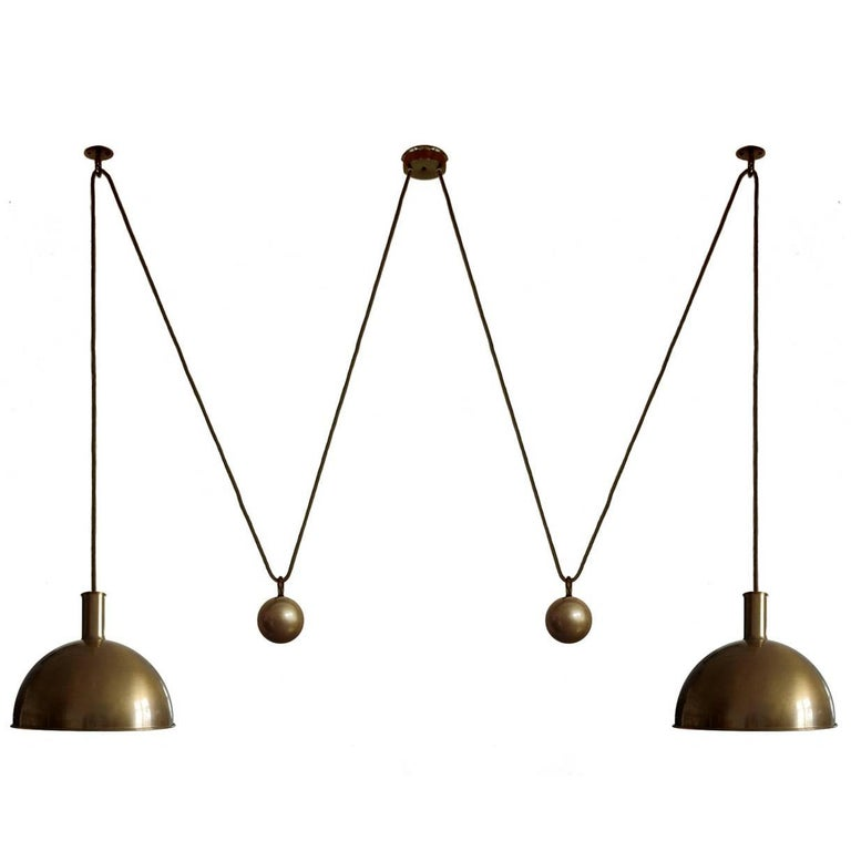 Double Posa Matt Brushed Brass Counterweight Pendant Lamp by Florian Schulz