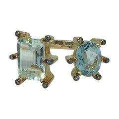 Double Ring, 14 Karat Aquamarine Gold and Diamonds
