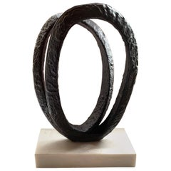 Double Ring Iron Sculpture, Indonesia, Contemporary