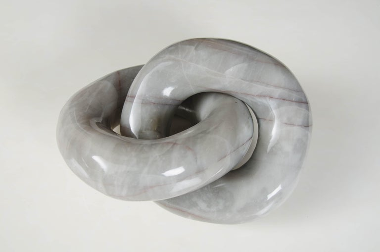 Double Ring Link Sculpture, Nephrite Jade by Robert Kuo, Hand Carved For Sale 4