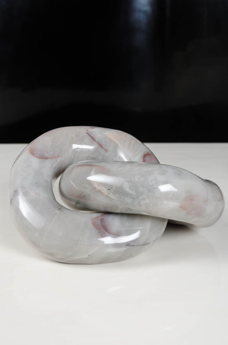 Double Ring Link Sculpture, Nephrite Jade by Robert Kuo, Hand Carved For Sale 5
