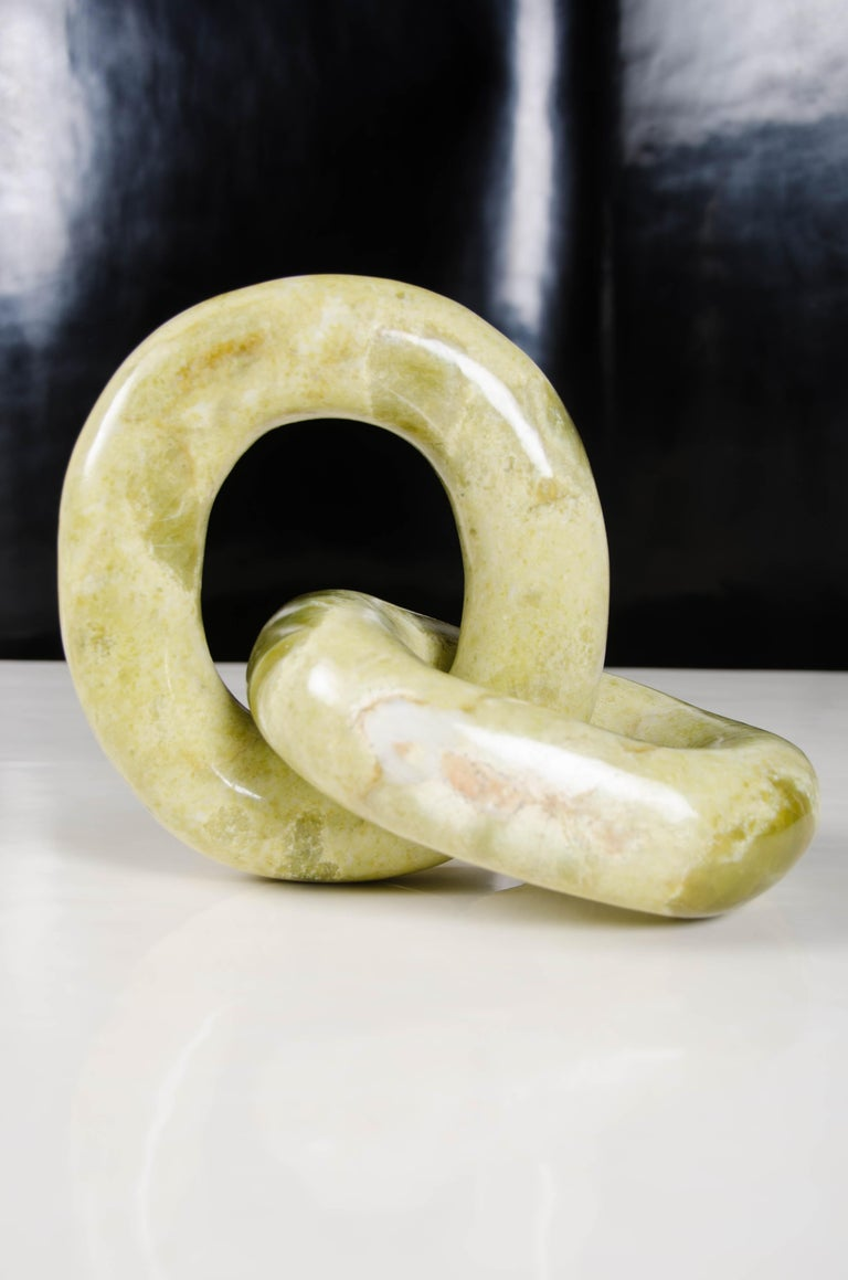 Contemporary Double Ring Link Sculpture, Nephrite Jade by Robert Kuo, Hand Carved For Sale