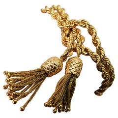 Double Rope Chain Yellow Gold Bracelet with Pineapple Charm Tassels