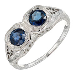 Double Round Sapphire Art Deco Gold Filigree Engagement Ring