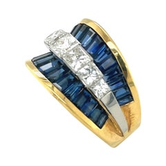Double Row 5.06ct Sapphire and 1.67ct Princess Cut Diamond Concave Ring