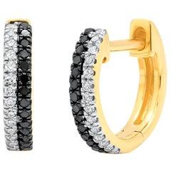Double Row Black and White Diamond Huggies, Ben Dannie