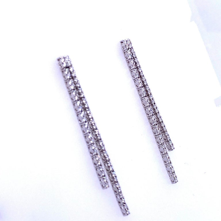 Contemporary Double-Row Diamond Drop Earrings 0.90 Carat 14 Karat White Gold For Sale
