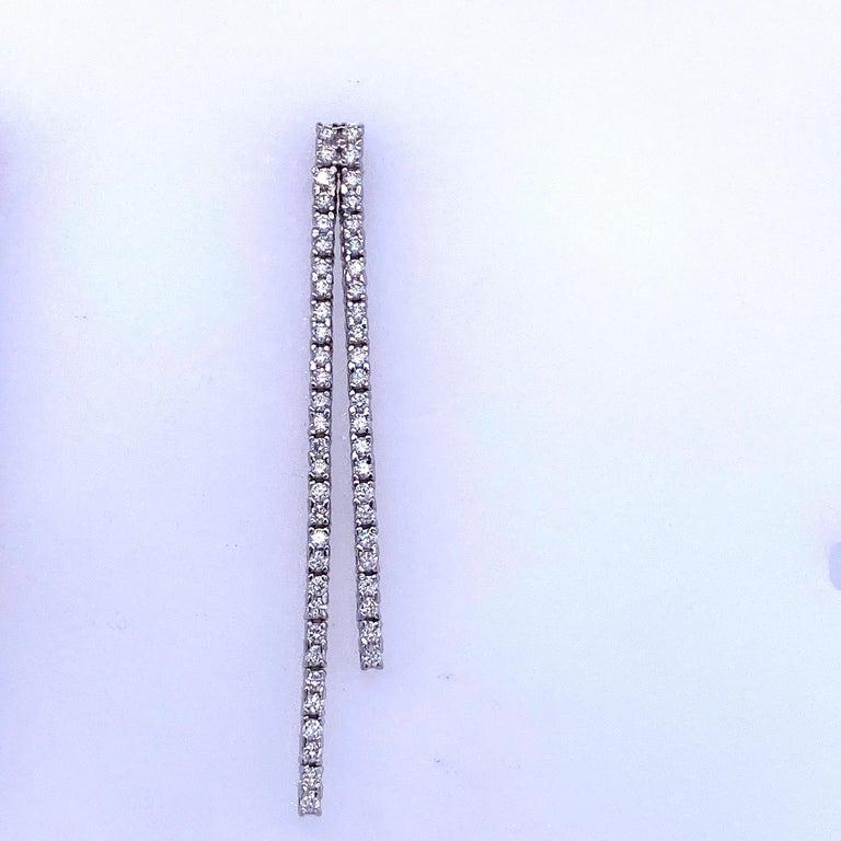 Round Cut Double-Row Diamond Drop Earrings 0.90 Carat 14 Karat White Gold For Sale