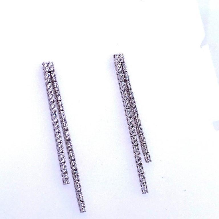 Women's Double-Row Diamond Drop Earrings 0.90 Carat 14 Karat White Gold For Sale