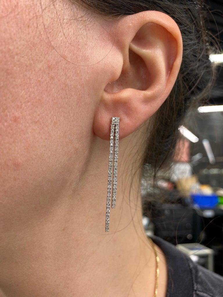Double-Row Diamond Drop Earrings 0.90 Carat 14 Karat White Gold For Sale 1