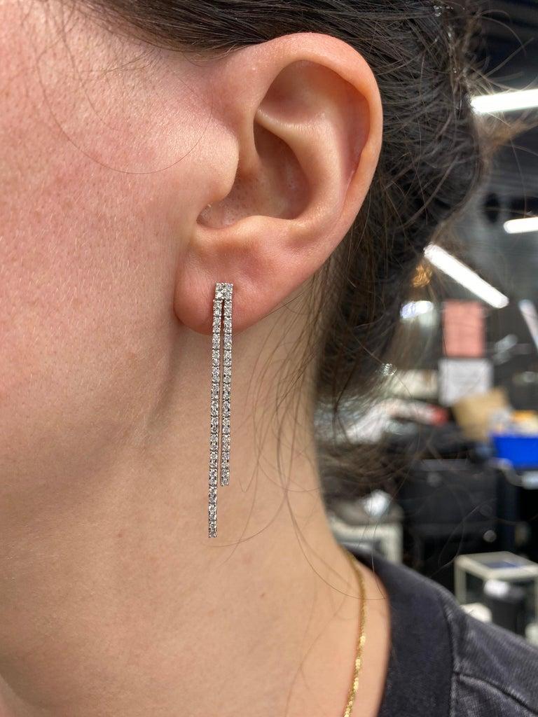 Double-Row Diamond Drop Earrings 0.90 Carat 14 Karat White Gold For Sale 2