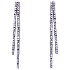 Double-Row Diamond Drop Earrings 0.90 Carat 14 Karat White Gold