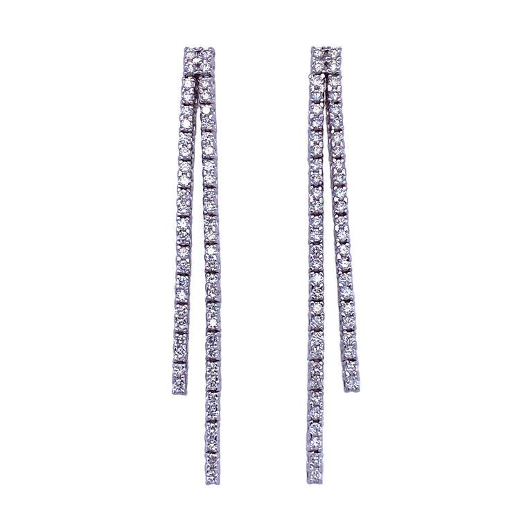 Double-Row Diamond Drop Earrings 0.90 Carat 14 Karat White Gold For Sale