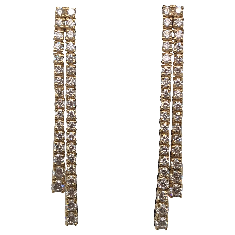 HARBOR D. Double-Row Diamond Drop Earrings 1.52 Carat 14 Karat Yellow Gold