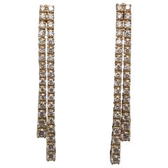 Double-Row Diamond Drop Earrings 1.52 Carat 14 Karat Yellow Gold