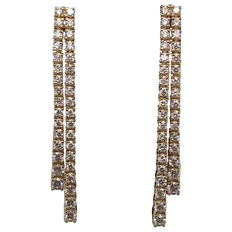 HARBOR D. Double-Row Diamond Drop Earrings 1.52 Carat 14 Karat Yellow Gold For Sale