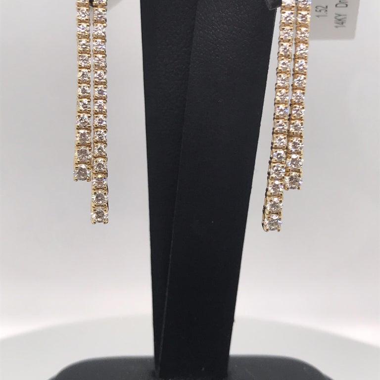 Contemporary HARBOR D. Double-Row Diamond Drop Earrings 1.52 Carat 14 Karat Yellow Gold For Sale