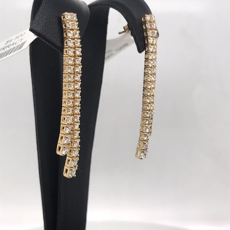 Round Cut HARBOR D. Double-Row Diamond Drop Earrings 1.52 Carat 14 Karat Yellow Gold For Sale