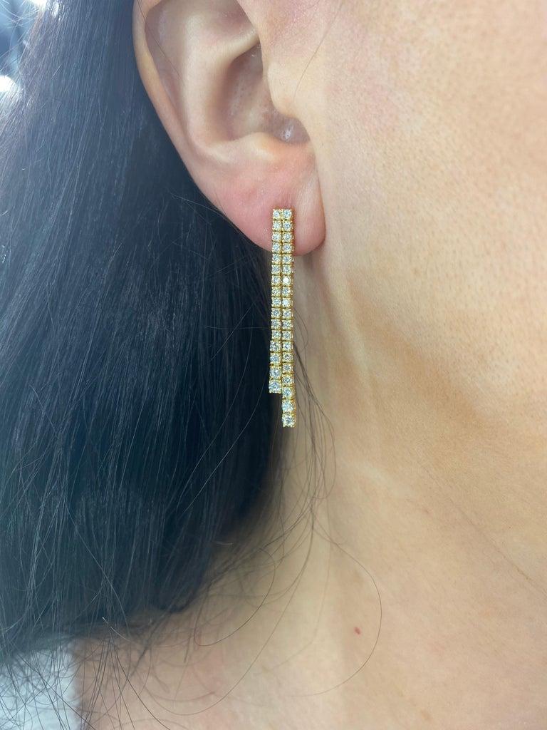 Women's HARBOR D. Double-Row Diamond Drop Earrings 1.52 Carat 14 Karat Yellow Gold For Sale