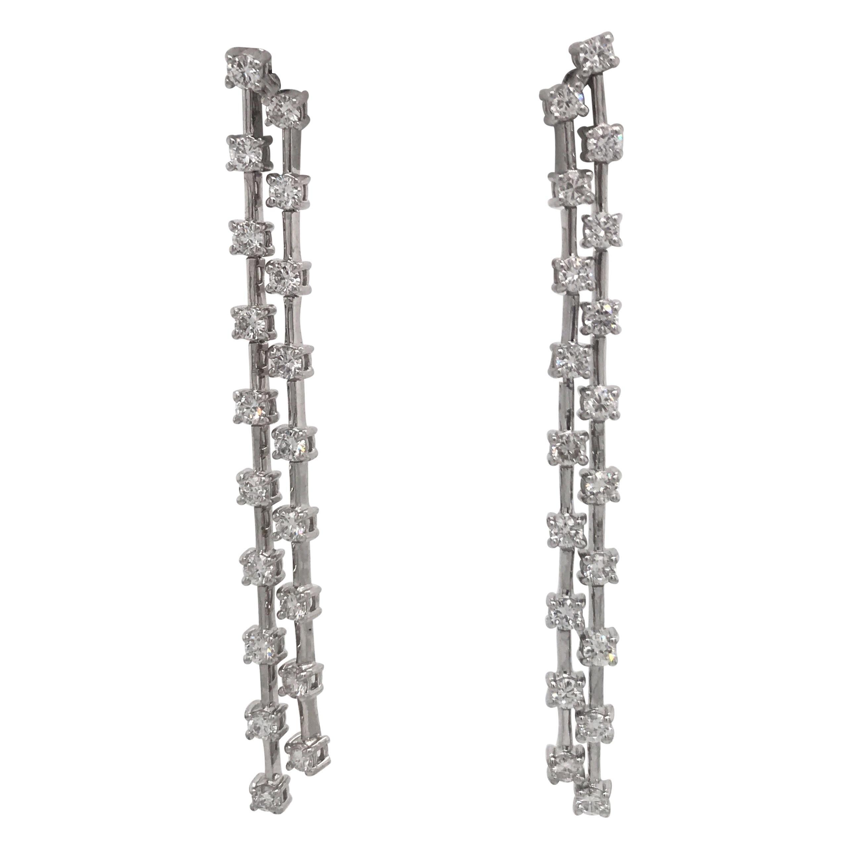 Double Row Diamond Drop Earrings 2 Carat 14 Karat White Gold