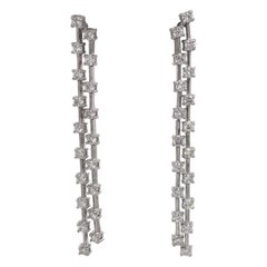 Double Row Diamond Drop Earrings 2 Carat 14 Karat White Gold