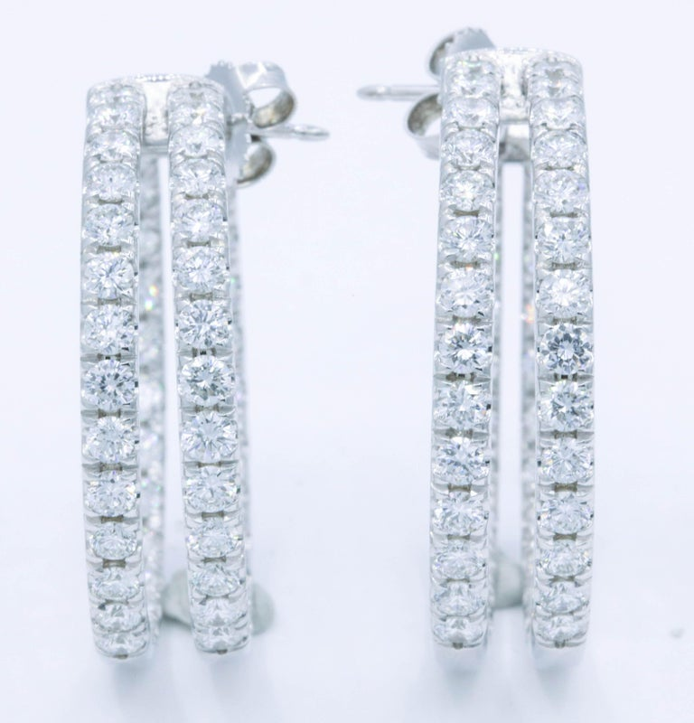 Round Cut Double-Row Diamond Hoop Earrings 5.60 Carat 14K White Gold For Sale