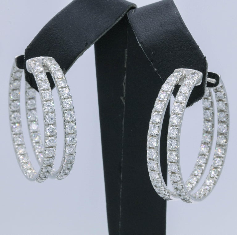 Double-Row Diamond Hoop Earrings 5.60 Carat 14K White Gold In New Condition For Sale In New York, NY