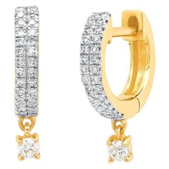 Double Row Diamond Huggie Drop Earrings, Gold, Ben Dannie