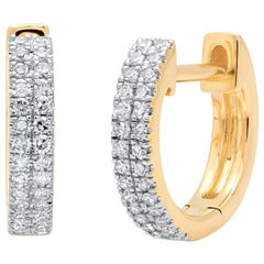 Double Row Diamond Huggie Earrings, Gold, Ben Dannie