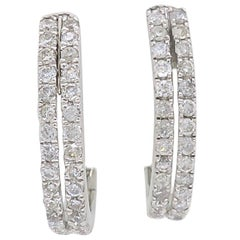 Double Row Diamond Huggie Style Earrings