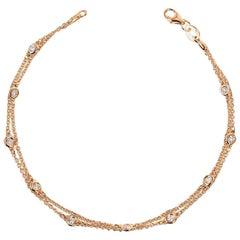 Double Row Diamond Station Bracelet Rose Gold 14 Karat