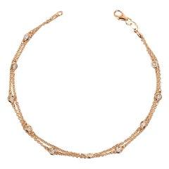 Double Row Diamond Station Bracelet Rose Gold