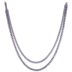 Double Row Diamond Tennis Necklace 6.67 Carat 14 Karat White Gold