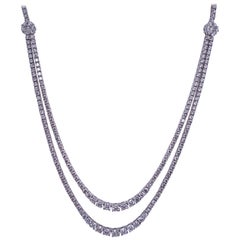 Double Row Diamond Tennis Necklace 9.33 Carat 14 Karat White Gold