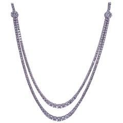 Double Row Diamond Tennis Necklace 9.33 Carat 14 Karat White Gold