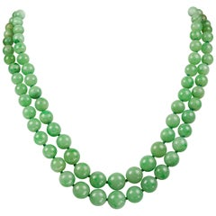 Double Row Graduated Jade Necklace