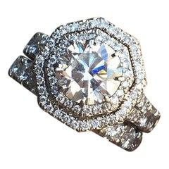 Double Row Hexagonal Halo, Round Centre Diamond Engagement Ring, Pave Diamond