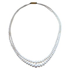 Double Row Natural Pearl Strands Necklace with Royal Provenance