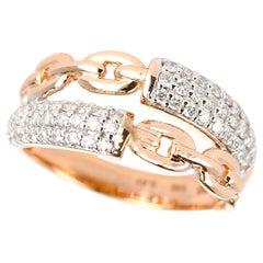 Rose Gold Rope Ring with Diamonds, 14 Karat Rose Gold Gold