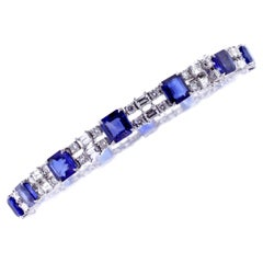 Double Row Sapphire and Diamond Bracelet